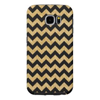 Elegant Black Gold Glitter Zigzag Chevron Pattern Samsung Galaxy S6 Cases