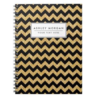 Elegant Black Gold Glitter Zigzag Chevron Pattern Spiral Note Book