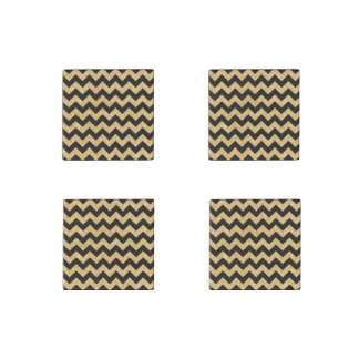 Elegant Black Gold Glitter Zigzag Chevron Pattern Stone Magnets