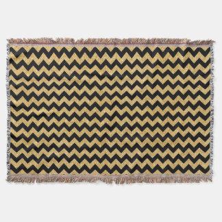 Elegant Black Gold Glitter Zigzag Chevron Pattern Throw Blanket