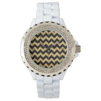 Elegant Black Gold Glitter Zigzag Chevron Pattern Watch