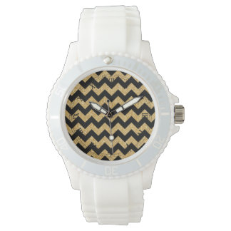 Elegant Black Gold Glitter Zigzag Chevron Pattern Wrist Watch