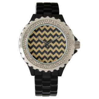 Elegant Black Gold Glitter Zigzag Chevron Pattern Wristwatches