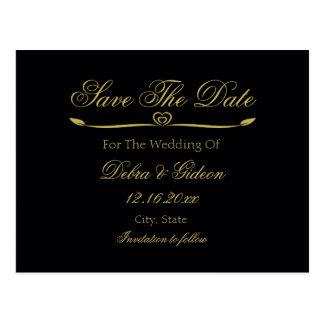 Elegant Black & Gold Heart Flourish Save the Date Postcard