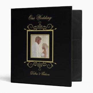 Elegant Black & Gold Heart Flourish Wedding Album Binders