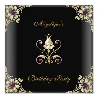 "Elegant Black Gold Jewel Birthday Party 5.25"" Square Invitation Card"