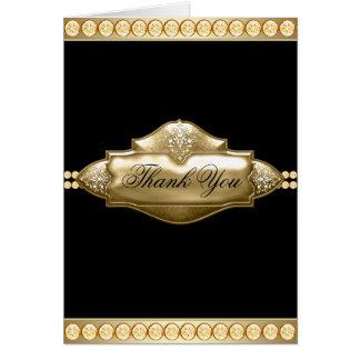 Elegant Black Gold Jewel Thank You Cards