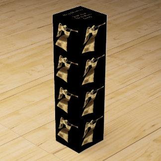 Elegant Black Gold Look Angel Pattern Christmas Wine Box