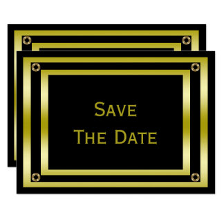 Elegant Black & Gold  Man's 100th Save The Date Card