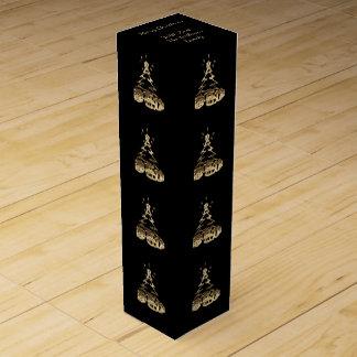Elegant Black Gold Merry Christmas Tree Pattern Wine Box