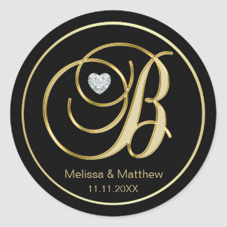 Elegant Black Gold Monogram Letter B Heart Diamond Classic Round Sticker