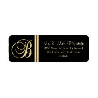 Elegant Black Gold Monogram Letter 'B' Return