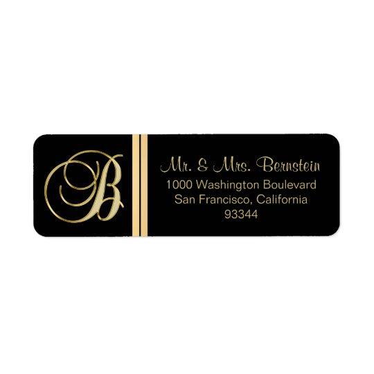 Elegant Black Gold Monogram Letter 'B' Return Return Address Label
