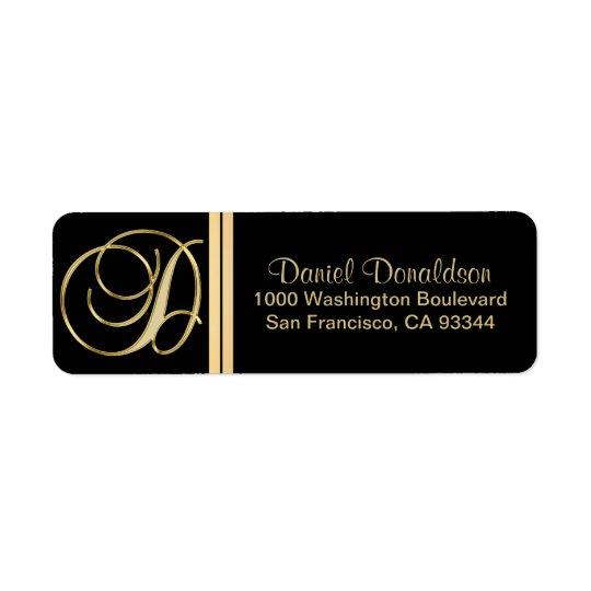 Elegant Black Gold Monogram Letter 'D' Return