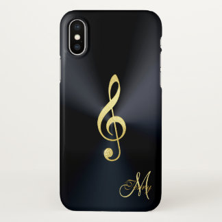 Elegant Black Gold Music Clef iPhone X Case