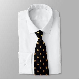 elegant black gold polka dot pattern tie