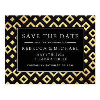 Elegant Black & Gold Save The Date Postcard