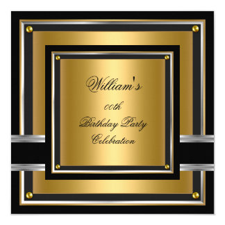 Elegant Black Gold Silver Birthday Party Mens boys Card