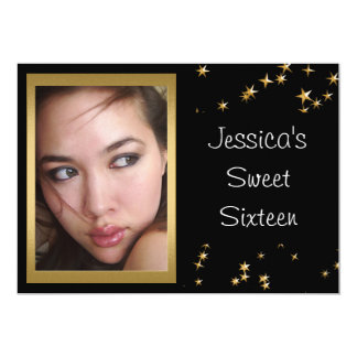 Elegant Black Gold Stars Photo Sweet 16 Card