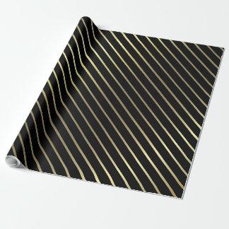 Elegant Black Gold Striped Glamorous Shiny Design Wrapping Paper