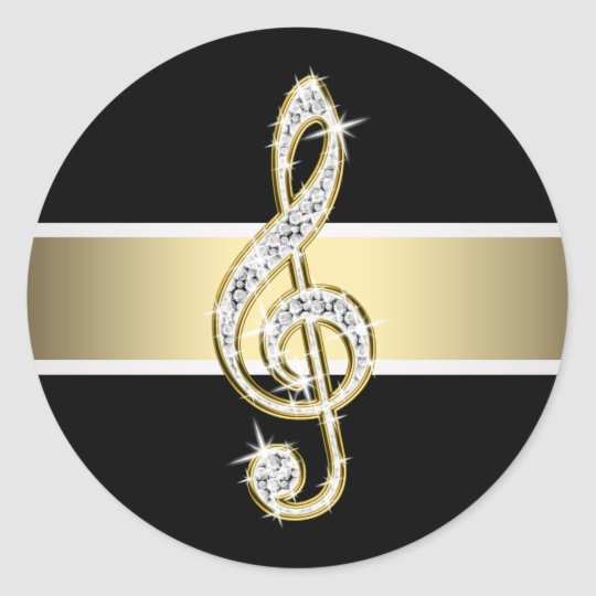 Elegant Black Gold Treble Clef Stickers