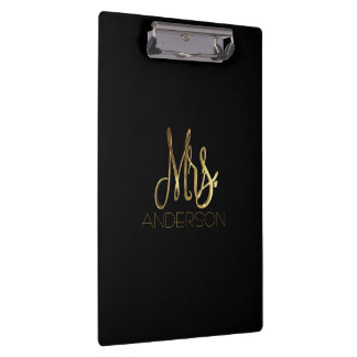 Elegant Black Gold Typography Mrs. Family Name Clipboard