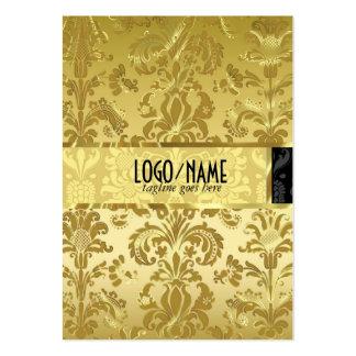Elegant Black & Gold Vintage Floral Damasks Business Card Template