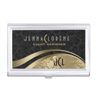 Elegant Black & Gold Vintage Floral Damasks Business Card Holder