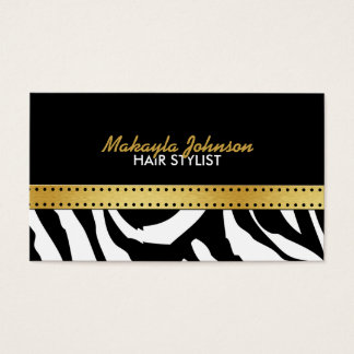 Elegant black & gold Zerba Strips Modern & Stylish Business Card