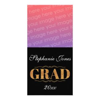Elegant, black Grad Personalized Photo Card