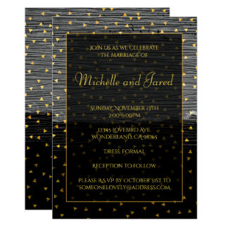 Elegant Black Gray and Gold Triangles Card