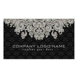 Elegant Black & Gray  Vintage Floral Damasks 2 Business Cards