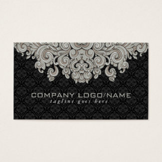 Elegant Black & Gray  Vintage Floral Damasks 2 Business Card