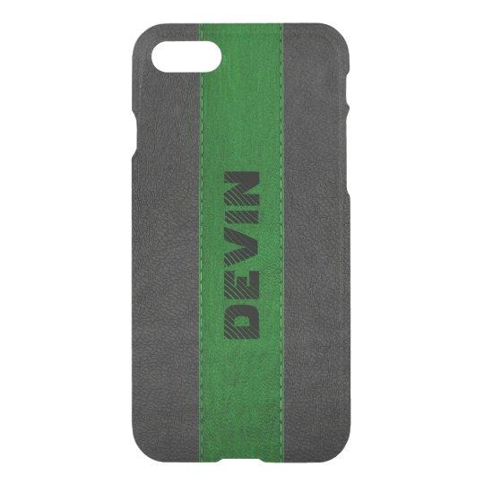 Elegant Black & Green Stitched Vintage Leather iPhone 7 Case