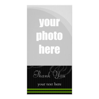 "Elegant Black/Green ""Thank You"" Photo Card Template"