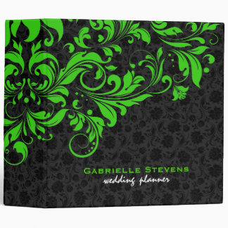 Elegant Black & Green Vintage Floral Damasks Binder