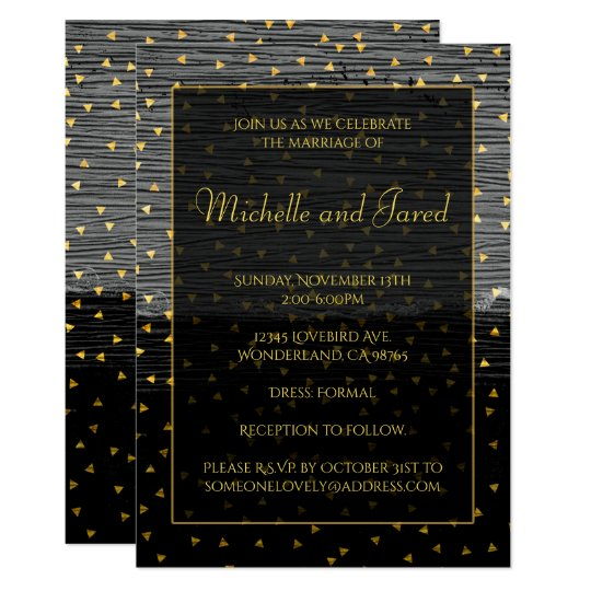 Elegant Black Grey and Gold Triangles Card