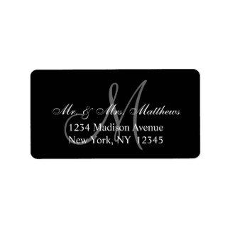 Elegant Black Grey Monogram Wedding