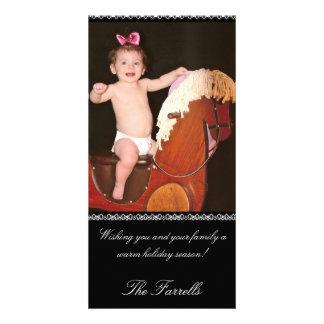 Elegant Black Holiday Photo Card