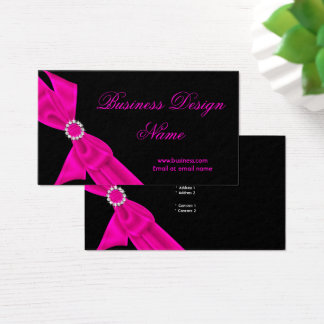 Elegant Black Hot Pink Diamond Bow Design Business Card