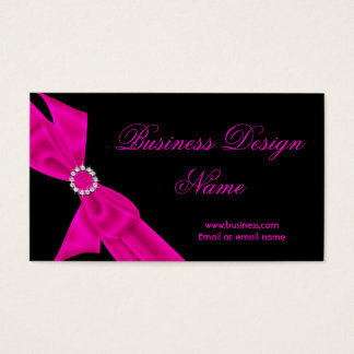 Elegant Black Hot Pink Diamond Bow Design Business Card