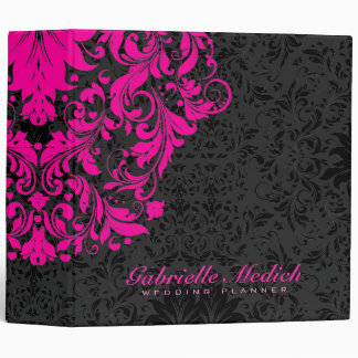 Elegant Black & Hot Pink Floral Vintage Damasks Binders