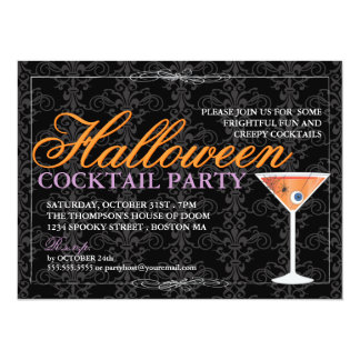 Elegant Black Lace Halloween Cocktail Party Card