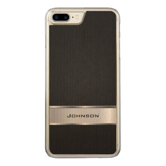 Elegant Black Leather Look with Silver Metal Label Carved iPhone 8 Plus/7 Plus Case