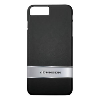 Elegant Black Leather Look with Silver Metal Label iPhone 8 Plus/7 Plus Case