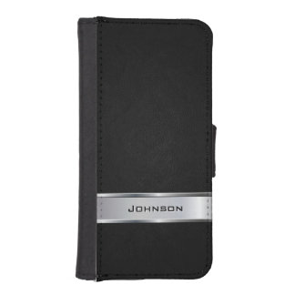 Elegant Black Leather Look with Silver Metal Label iPhone SE/5/5s Wallet Case