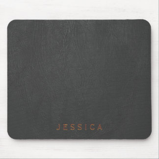 Elegant Black Leather Texture Print Mouse Pad