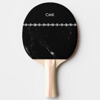 Elegant Black Marble and Diamond Look   Monogram Ping Pong Paddle