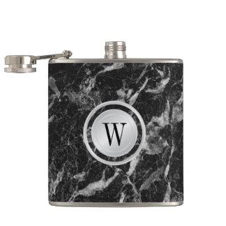 Elegant Black Marble Pattern with Custom Monogram Hip Flask