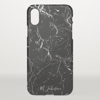 Elegant Black Marble Personalized iPhone X Case